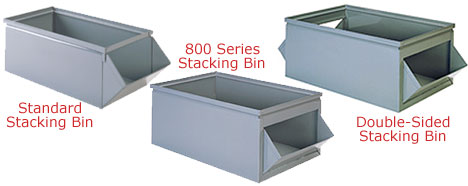 standard bins are designed to fit into stackbin racks where 800series may fit into other rack systems