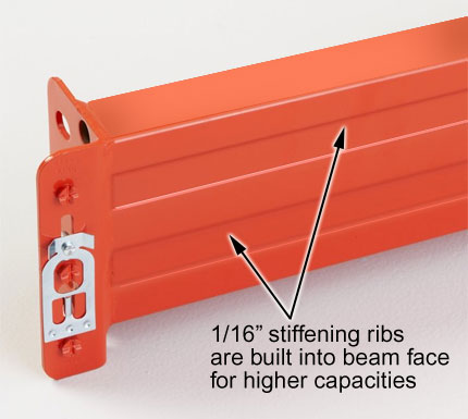 "1/16"" stiffening ribs built into the beam face give you higher capacities."