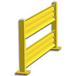 8ft. W x 42 in. H Steel Guard Rail - Double High Starter