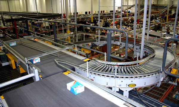 conveyor system in a returns center