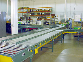 Aviall shipping area - conveyors send loaded totes to the right zone for shipping.