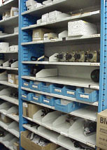 flexi-bin shelves in automotive dealer