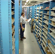bulky bins automotive dealer parts room shelves