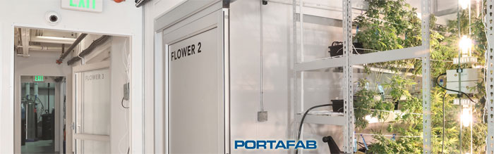modular grow room in a cannabis facility using variable panel design