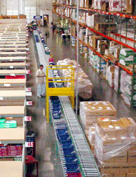 conveyor system in warehouse