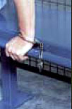 Handcuff rail for bench