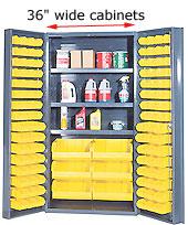 "metal cabinets with storage bins   36"" wide industrial steel"