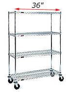 Mobile wire shelving - Shelving on wheels - 36 inch wide units
