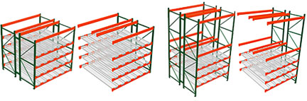 pallet racks with carton flow tracks