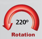 220-degree boom rotation