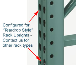 Teardrop rack upright