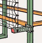 Offset mounted pallet rack safety netting