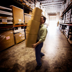 warehouse worker in hot summer conditions