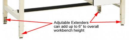 Workbench leg extensions