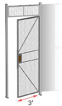 wire security cage hinged gate, 3' wide