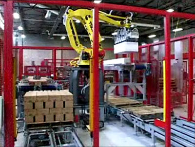 Robotic palletizing at end of manufacturing line