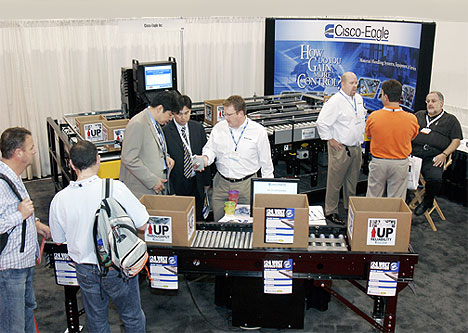 Cisco-Eagle Pack Expo booth with E24 power roller conveyor demonstration
