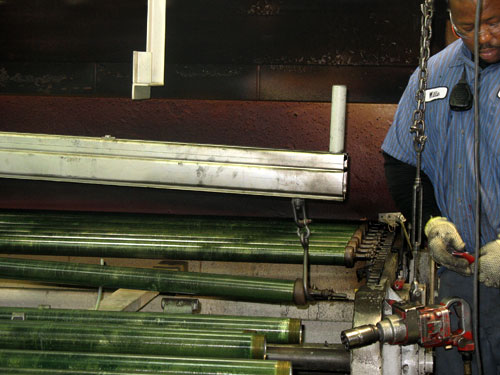 Manufacturing at a pipe coating plant