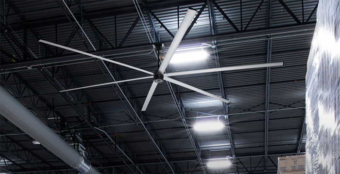 HVLS fan in a warehouse facility