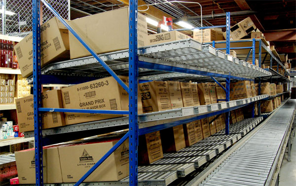 carton flow loads in a distribution center