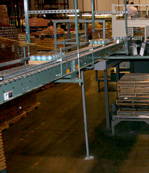 conveyor system overhead in a warehouse
