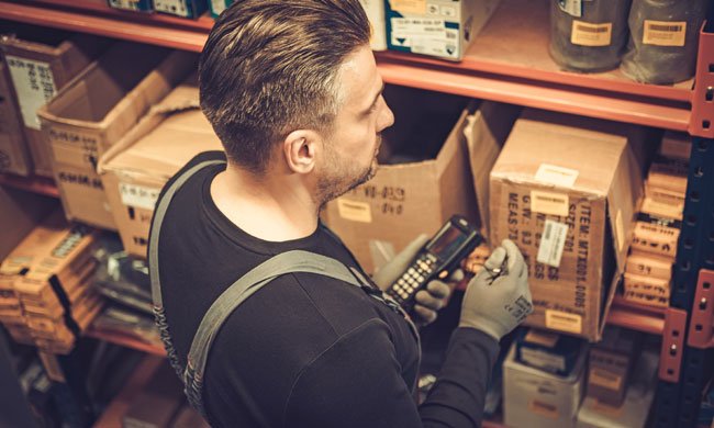 order picking shelves in a warehouse