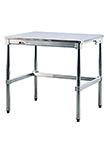 Mesas de aluminio con cubiertas de acero inoxidable