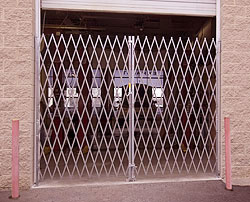 closed steel folding security gate