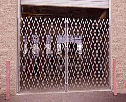 closed steel folding security gate
