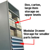 use shelves for larger item, modular drawers for smaller ones like tools, hardware, components