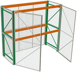 Pallet Rack with Mesh Cages