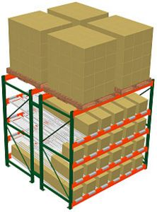 pallet rack with overhead bulk storage and carton flow