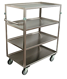 "Stainless Steel Supply Cart with (4) Shelves, Lip Up & Handle - 22""W x 48""L x 34""H"