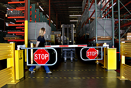 Forklift crossing, outfitted with AisleCop forklift safety system