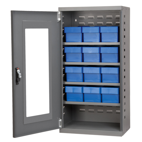 """Mini Quick-View Cabinet with (12) Blue 5-9/16"""" Wide Bins"""