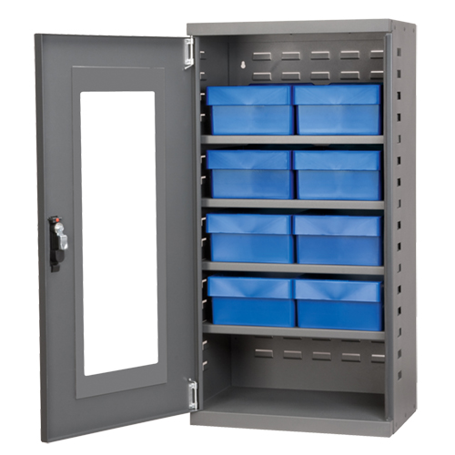 "Mini Quick-View Cabinet with (8) Blue 8-3/8"" Wide Bins"