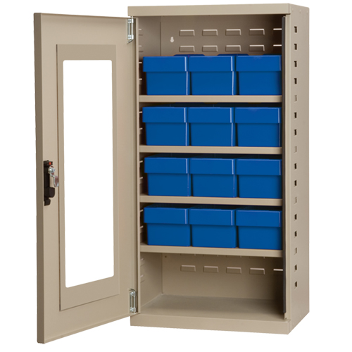 "Mini Quick-View Cabinet with (12) Blue 5-9/16"" Wide Bins"
