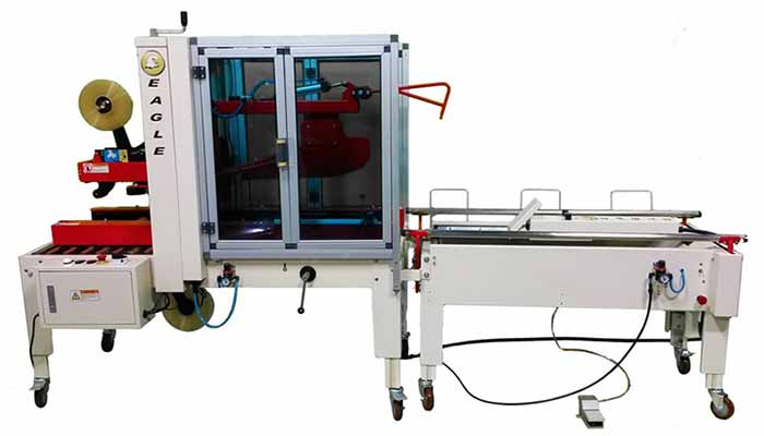 Eagle T10CF carton erector shown with the Eagle T500 carton sealer