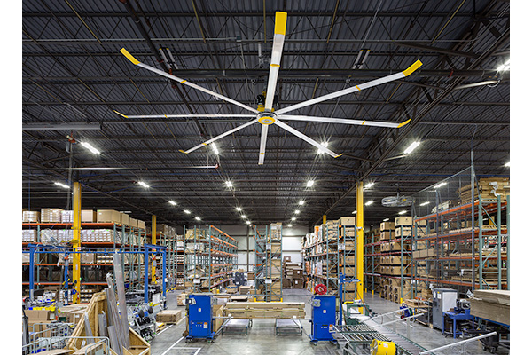 HVLS fan from Big Ass Fans in a warehouse with pallet racks