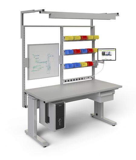 Manual height adjustable workstation with bin rails, light, CPU holder, single drawer, flat screen display arm and white board back screen