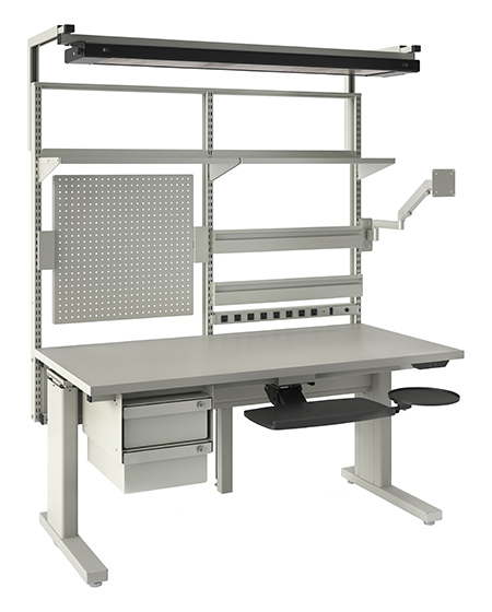 Assembly workstation with electric height adjustment. All shown components included. Also available on casters.