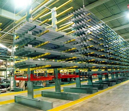 cantilever rack system in a warehouse