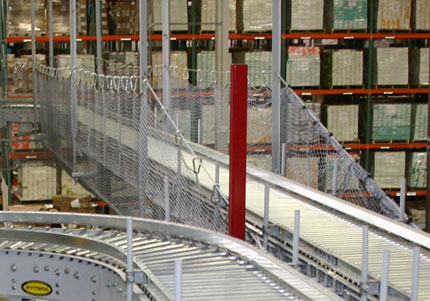 Conveyor safety net in warehouse