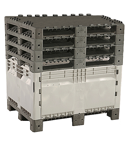 Save up to 63% in storage space. Simply remove walls from 4 bins and place in one bin, then stack remaining pallet bases on top of filled bin - 5 bins stored in the footprint of 1