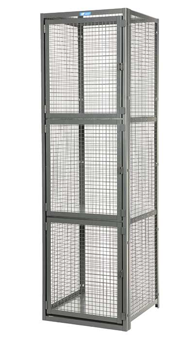 front of 3-tier locker with mesh back