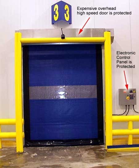 Protect overhead, high-speed, climate, or mesh doors, hardware, and electronic panels from accidental forklift impact.