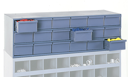 18 Drawer Cabinet used in conjunction with open bin cabinet