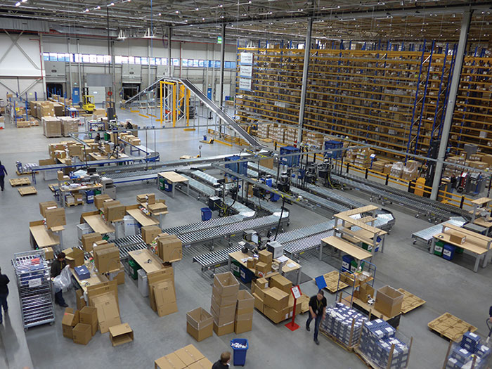 BestConnect system moving packages in a warehouse