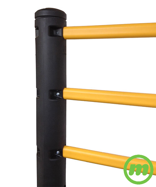 Flexible handrail post with rails