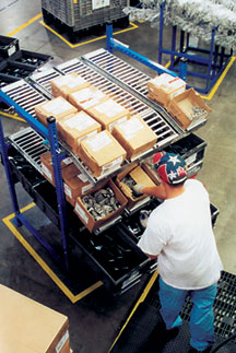 picking from flow rack at a lean manufacturing operation